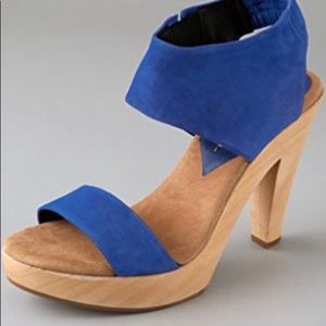 Loeffler Randall chunky wood blue strap heels 9.5